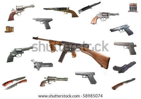 A Thompson Machine gun the favorite weapon of the gangsters in the  1920's -1930's isolated over white - stock photo