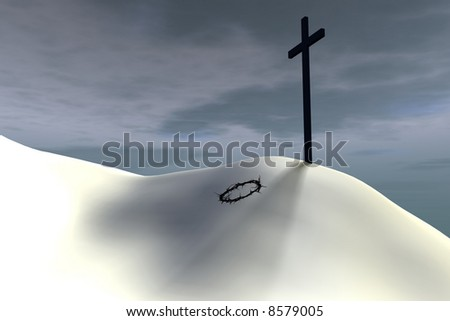 A thorn crown lies at the base of a lone cross. - stock photo