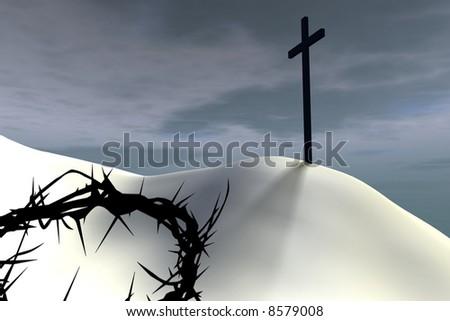 A thorn crown lies near a cross against overcast sky - stock photo