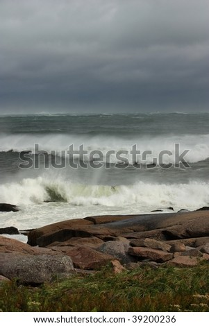 A threatening sea and sky - stock photo