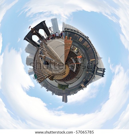 A three dimensional mini planet style panoramic image of the New York City skyline including the Brooklyn and Manhattan Bridges. - stock photo
