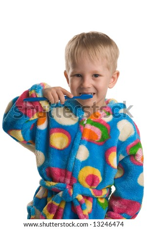 A three years old boy brushing teeth, on white - stock photo