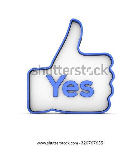A thumbs up icon on a plain white background with the word yes - stock photo