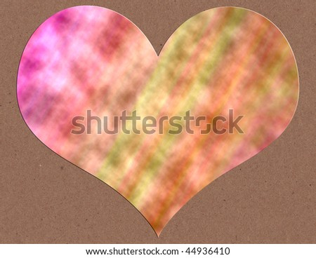 A tie-dyed heart on a kraft background