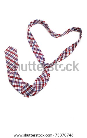a tie forming a heart on a white background