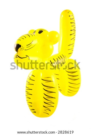 A tiger made from a baloon selected on a white background