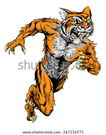 A tiger man character or sports mascot charging, sprinting or running - stock photo