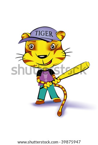 a tiger playing baseball on white background - stock photo