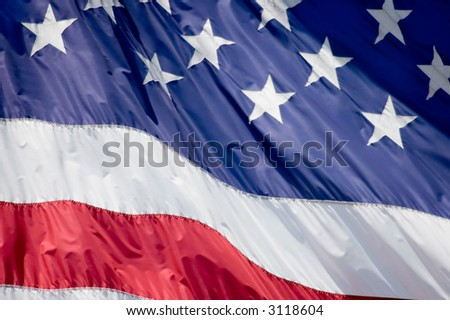 A tight shot of the American flag - stock photo