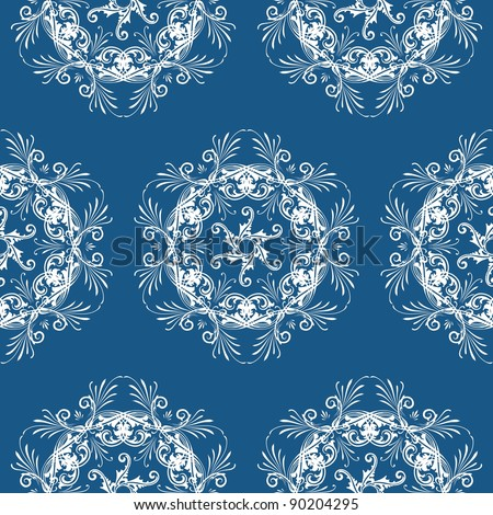 A tile of floral pattern for a seamless pattern - white and blue - stock photo