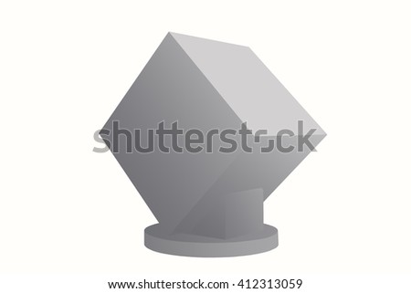 a tilted cubic on platform with light and shadow in grey tone for inserting your logo/picture (isolated and have clipping path)(3d illustration) - stock photo