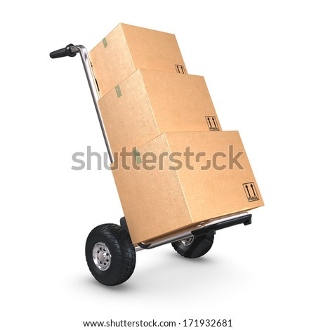 A tilted Hand-Truck with three cardboard boxes on white background. - stock photo