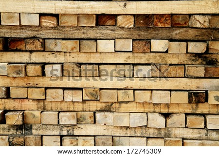 A timber bunch in warehouse - stock photo