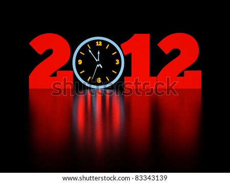 a time concept with clock in a dark, shining date - stock photo