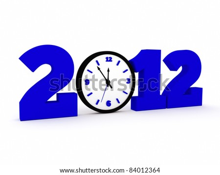 a time concept with clock, 2012 new year - stock photo