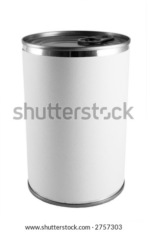 a tin can with a blank label - stock photo