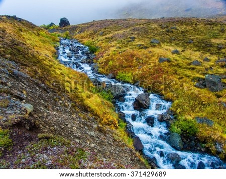 A tiny creek streams down the Alaskan tundra on a misty afternoon - stock photo