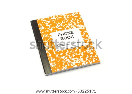 A tiny orange and white phone and address book. - stock photo