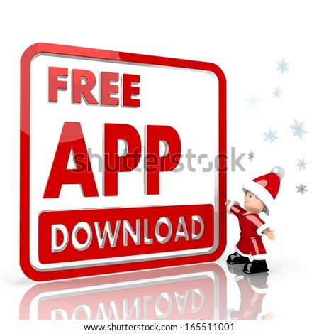 a tiny Santa Claus boy standing in front of a huge free app download symbol isolated on white background with snowflakes