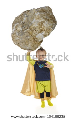 A tiny superhero lifting a huge rock with one hand.  On a white background. - stock photo