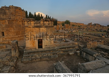 A tomb at the Hierapolis site shot at dusk. It was an ancient Greek city located on the hot springs in modern day Pamukkale, Turkey.