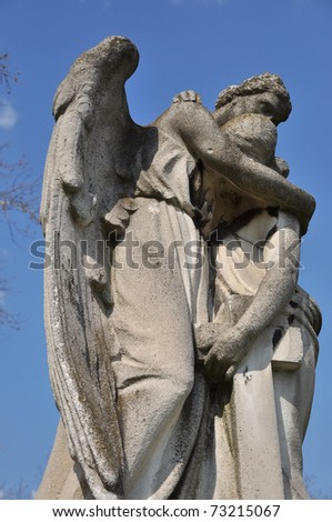 A tomb figure at a cementry in Budapest - stock photo