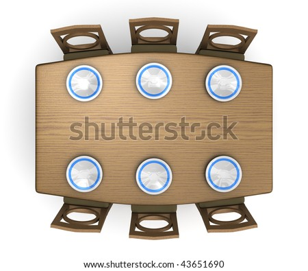 A top down view of a dinner table and chairs with plates. Isolated on white. - stock photo