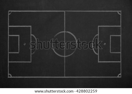 A top view from a soccer field with white chalk on a dark chalkboard.