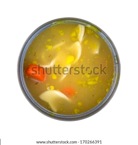 A top view of a freshly opened can of chicken noodle soup with carrots on a white background