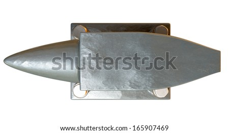 A top view of a heavy steel black anvil with four bolts holding it to an isolated background - stock photo