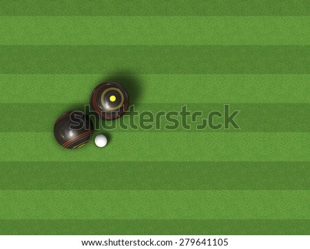A top view of a set of wooden lawn bowls next to a jack on a perfect flat green lawn  - stock photo