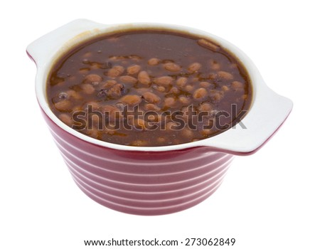 A top view of canned country style beans.in a dish. - stock photo