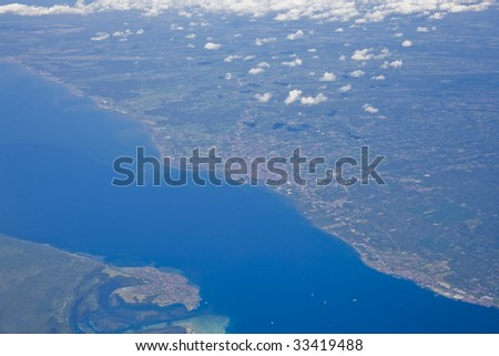 a top view of earth and sea water - stock photo
