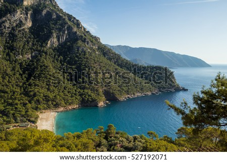 a top view of the bay to the beach in the mountains, the Mediterranean coast, Kabak, Turkey