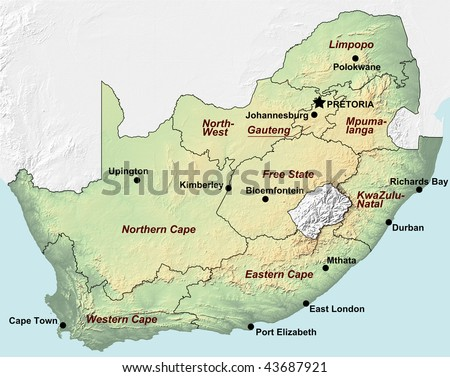 A topographic map of South Africa with shaded relief and hypsometric tints including the borders of the provinces and the major cities. - stock photo
