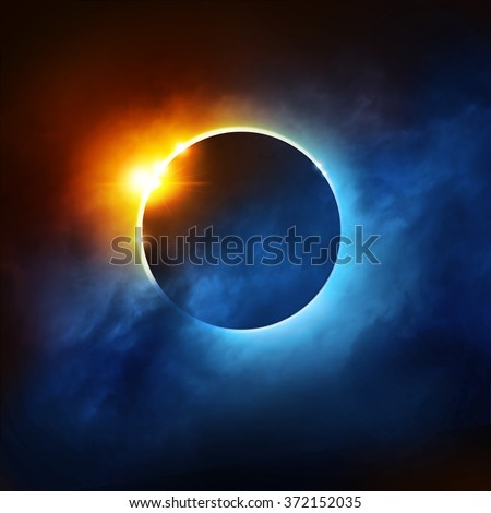 A Total Eclipse of the Sun. Dramatic Solar Eclipse illustration. - stock photo