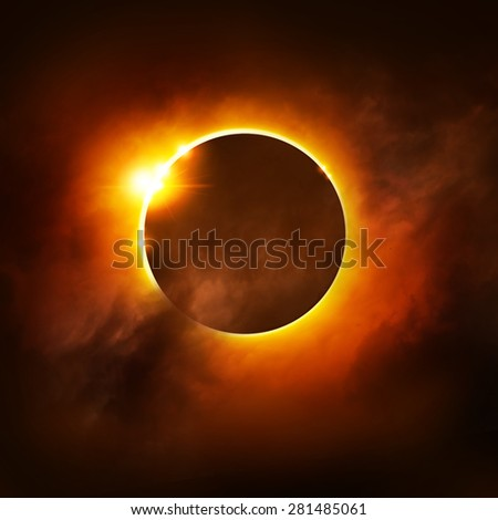 A Total Eclipse of the Sun. Illustration. - stock photo