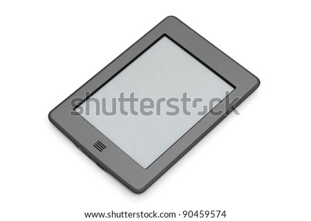 A touch e-reader isolated on white - stock photo