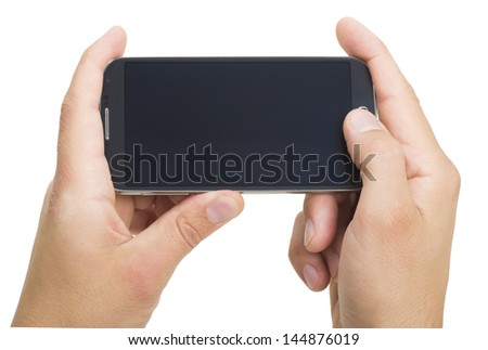 a touchscreen smartphone held in landscape - stock photo