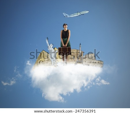 A tourist dreams her next beautiful trip - stock photo