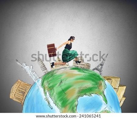 A tourist runs for her next trip - stock photo