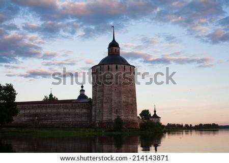 A tower an a wall in Kirillov abbey  - stock photo