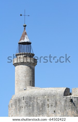 A tower located on the ramparts of Aigues Mortes in southern France - stock photo