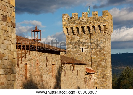 A tower of an old castle - stock photo