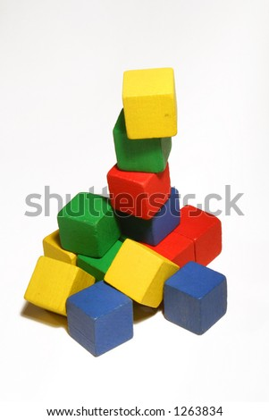 a tower of colorful wooden children's blocks - stock photo