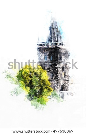 A Tower of the Charles Bridge in Prague. Vintage painting, background illustration, beautiful picture, travel texture