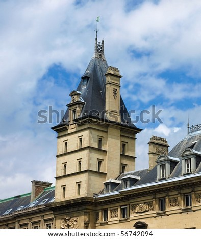 "A tower of the famous ""36 quai des Orfevres"" (parisian criminal police head quarter) - Paris, France"