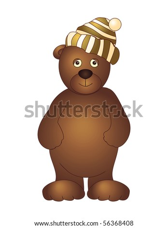 A toy bear cub in a cap