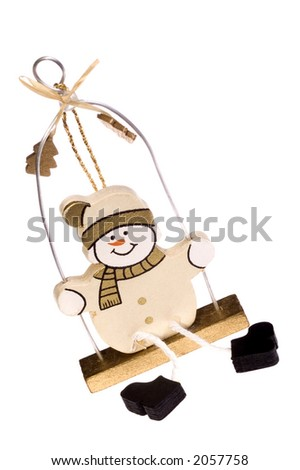 A toy figure of snowman - stock photo