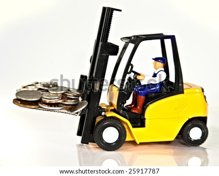 A toy fork lift truck lifting a pallet full of money - stock photo